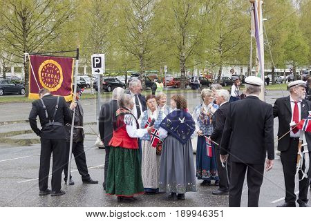VERDAL NORWAY - MAY 17 2017: National day in Norway. Norwegians at traditional celebration and parade on may 17 2017 in Verdal. People on parde before school in Verdal. Constitution Day is the National Day of Norway and is an official national holiday obs