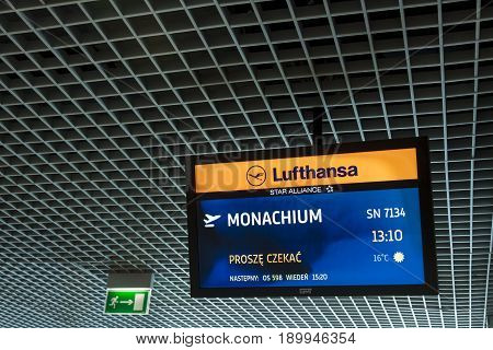 CRACOW POLAND - NOVEMBER 2:Lufthansa information monitor at Cracow International Airport on November 2 2014 in Cracow.