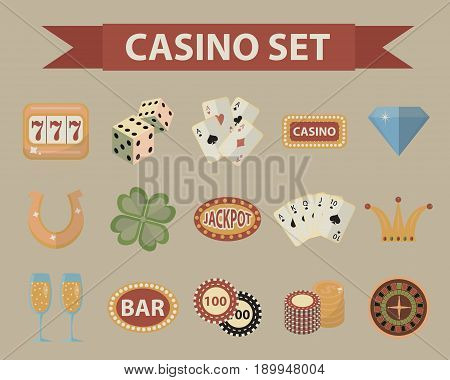 Casino icons, vintage style. Gambling set isolated on a white background. Poker, card games, one-armed bandit, roulette collection of design elements. Vector illustration, clip art