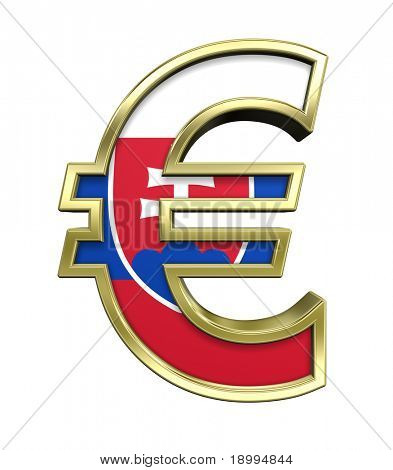 Gold Euro sign with Slovakia flag isolated on white. Computer generated 3D photo rendering.