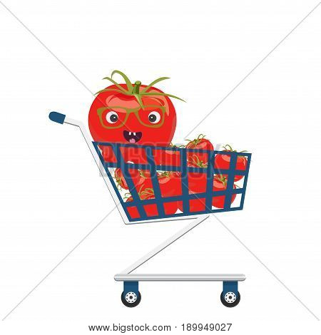 Vector illustration for tomatoes festival: fresh red tomatoes on trolley or shopping cart isolated. Red tomato character happy face.