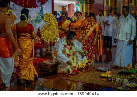 Kuala Lumpur, Malaysia - March 9, 2017: Unidentified people in a traditional Hindu wedding celebration. Hinduism is the fourth largest religion in Malaysia