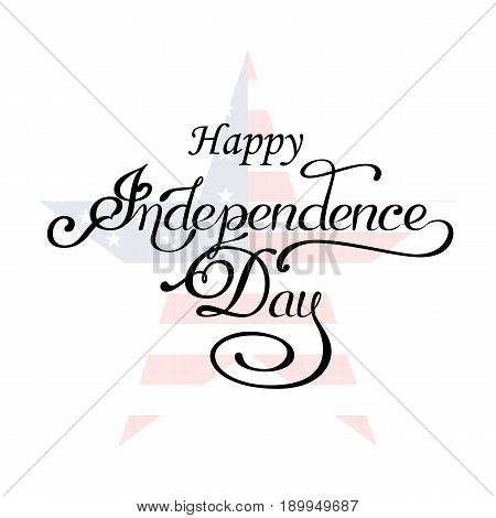 USA Happy Independence day lettering greeting card. Vector illustration with flag, balloon, star for congratulation american