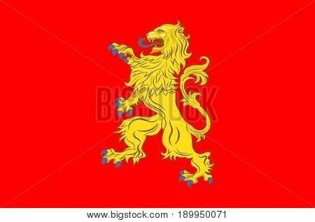 Flag of Valenciennes is a commune in the Nord department in northern France. Vector illustration
