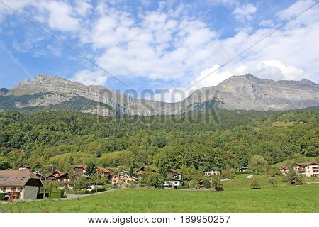Alpine meadow and French Alps at Passy