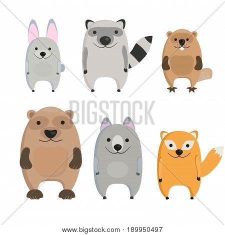 Collection of cute cartoon forest animals. Vector illustration isolated on white - stock vector.
