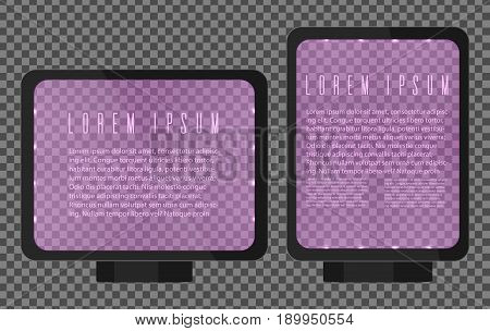 Advertising lightbox. Vertical and horizontal ad billboard template with limpid glowing glass. Advertising template board for text and other design needs. Vector illustration on transparent background