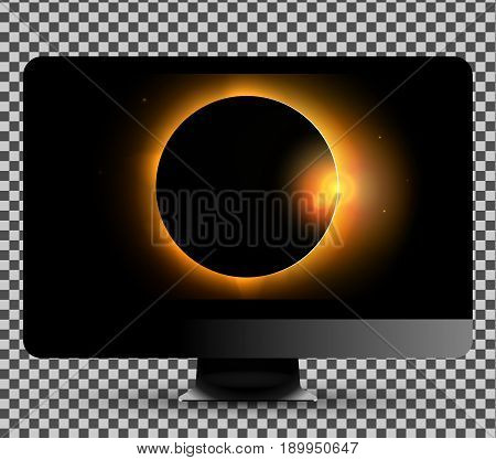 Vector illustration on the new black modern computer monitor showing sun eclipse picture on the screen