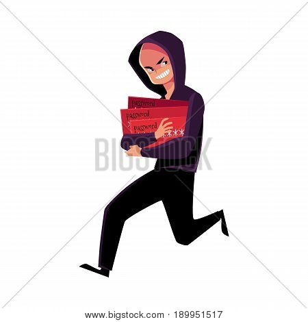 Hacker in black disguise running away, credit card fraud, theft concept, cartoon vector illustration isolated on white background. Illustration of credit card fraud, theft with hacker running away