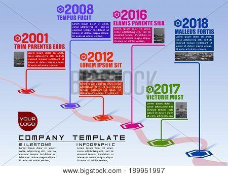 Company milestones path vector infographic plot template for presentations. Flat realistic 3D illustration