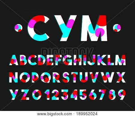 Modern style font vector typography alphabet with dotted 3D neon shape design
