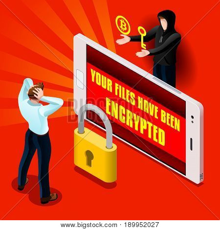 Ransomware malware wannacry symbol cyber attack concept smarphone infection infographic. Vector illustration with 3D flat isometric realistic detailed people