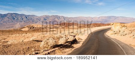 Beautiful day clear blue skies in Death Valley