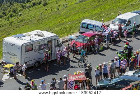 Pas de Peyrol France - July 62016: The Ukrainian cyclist Andriy Grivko of Astana Team riding on the road to Pas de Pyerol (Puy Mary) in Cantalin the Central Massif during the stage 5 of Tour de France on July 6 2016.