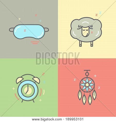Color Collection Of Isolated Vector Line Icons With Sleep Problems And Insomnia Symbols