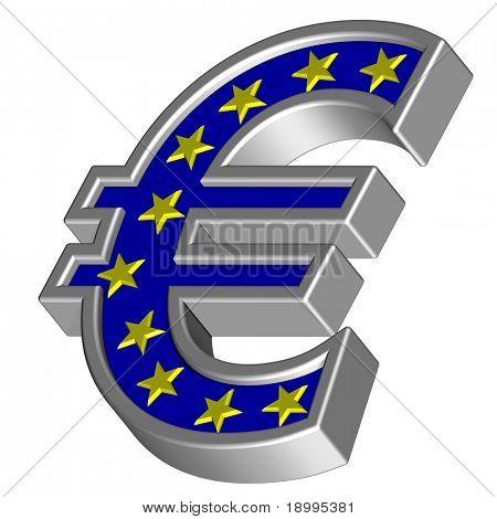Símbolo del Euro de plata con estrellas amarillas, aislados en blanco. Ordenador genera renderizado 3D foto.