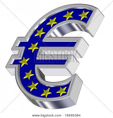 Chrome Euro sign with yellow stars isolated on white. Computer generated 3D photo rendering.