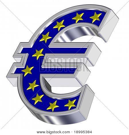Cromo del símbolo del Euro con estrellas amarillas, aislados en blanco. Ordenador genera renderizado 3D foto.