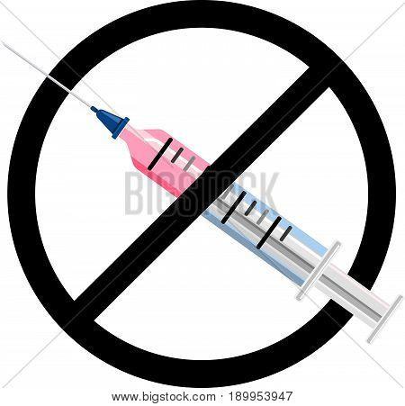 No syringe sign . No vaccine icon .