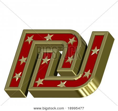 Gold-red Sheqel sign with stars isolated on white. Computer generated 3D photo rendering.