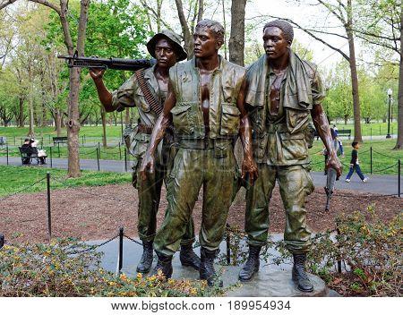 Washington DC, USA, 15th April 2017 - Editorial photograph of The Three Soldiers (Servicemen) Vietnam War Memorial Statue