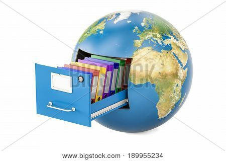 Global data storage. Earth globe with folders in filing cabinet 3D rendering isolated on white background
