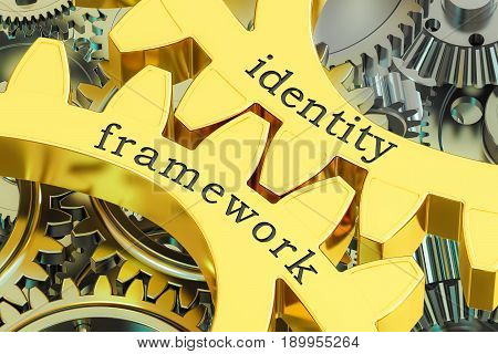 identity framework concept on the gearwheels 3D rendering