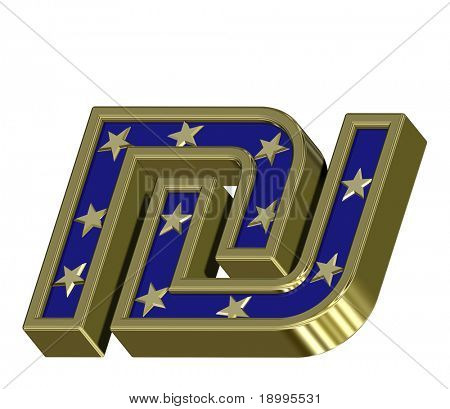 Gold-blue Sheqel sign with stars isolated on white. Computer generated 3D photo rendering.