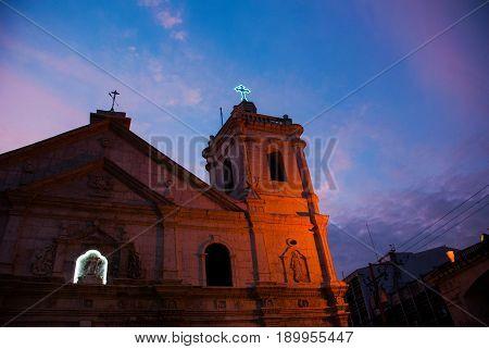 Basilica Minore Del Santo Nino Is A Minor Basilica In Cebu, Night Philippines.