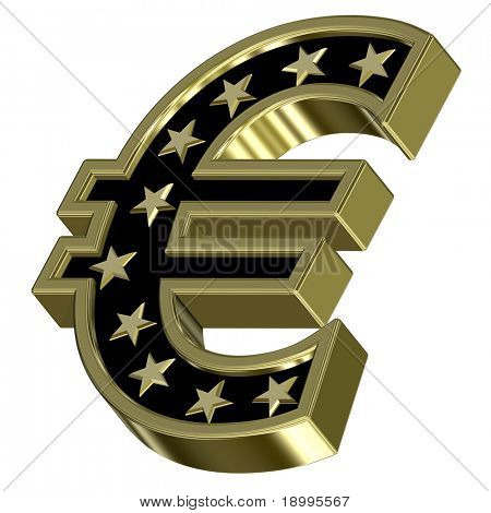 Gold-black Euro sign with stars isolated on white. Computer generated 3D photo rendering.