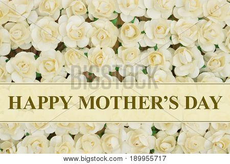 Happy Mother's Day text over pale yellow roses