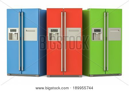 Set of colored refrigerators with side-by-side door system 3D rendering