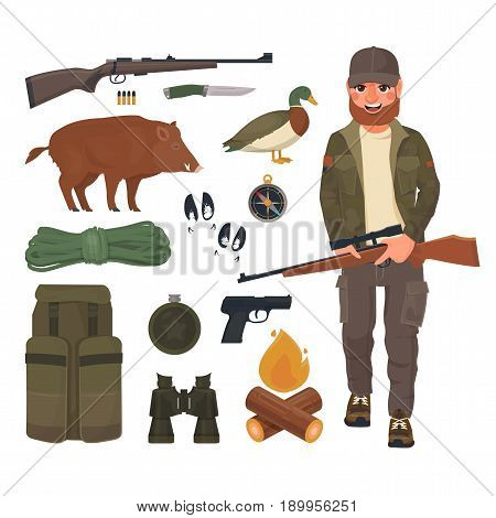 Hunter with rifle in cartoon style. Flat hunting object collection: wild boar and duck, hunting weapon isolated vector illustration