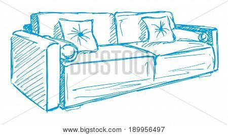 Sofa with pillows isolated on white background. Vector illustration in a sketch style.