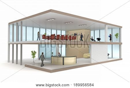 office building cutaway isolated on white. 3d rendering