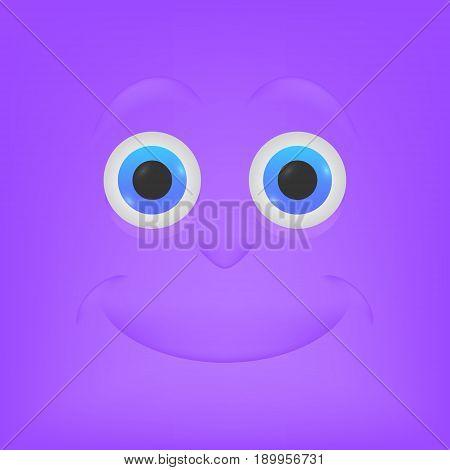 Tranquility. Emoticon, emoji, purple color - vector illustration.