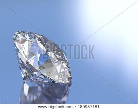 3D illustration ova diamond stone on a blue white background