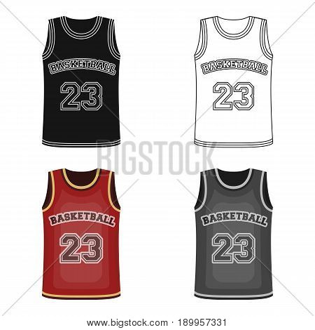 Basketball jersey.Basketball single icon in cartoon style vector symbol stock illustration .