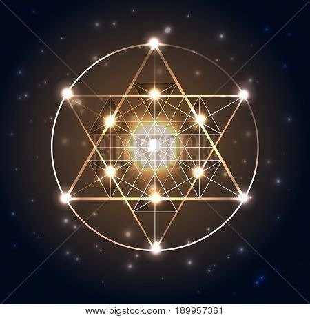 Sacred Geometry. Abstract Geometric Shapes On A Dark Blue Glowing Background