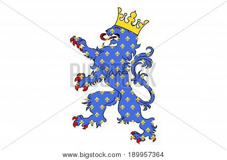 Flag of Compiegne is a commune in the Oise department in northern France. Vector illustration