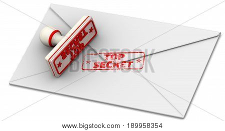 Top secret. Seal and closed postal envelope. Red seal and imprint