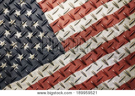 Grunge Vintage American Us Flag Over Old Metal