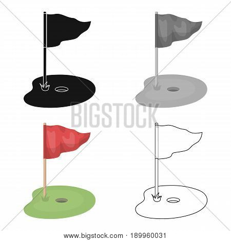 Flag and golf course.Golf club single icon in cartoon style vector symbol stock illustration .