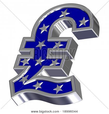Silver-blue Pound sign with stars isolated on white. Computer generated 3D photo rendering.