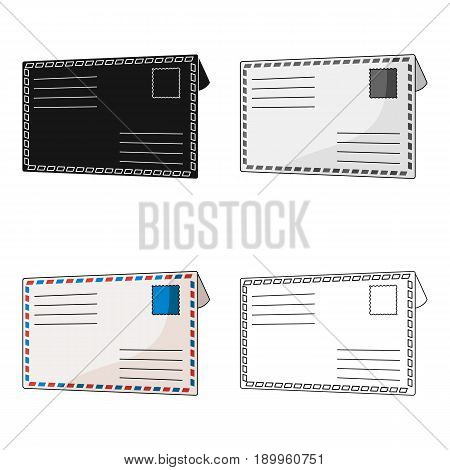 Postal envelope.Mail and postman single icon in cartoon style vector symbol stock illustration .