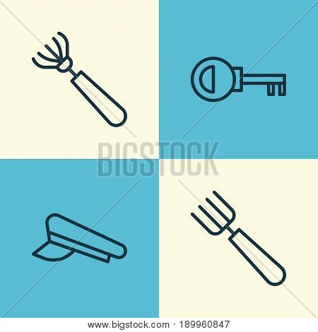 Tools Icons Set. Collection Of Garden Fork, Harrow, Cop Cap And Other Elements. Also Includes Symbols Such As Cop, Fork, Hat.