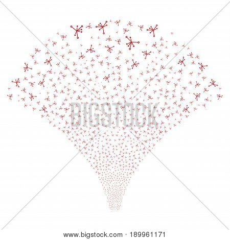 Source of big bang icons. Vector illustration style is flat red iconic symbols on a white background. Object source combined from confetti pictograms.