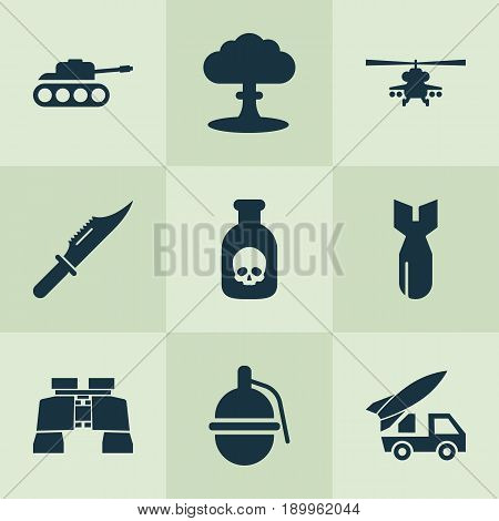 Army Icons Set. Collection Of Panzer, Rocket, Glass And Other Elements. Also Includes Symbols Such As Panzer, Grenade, Ordnance.