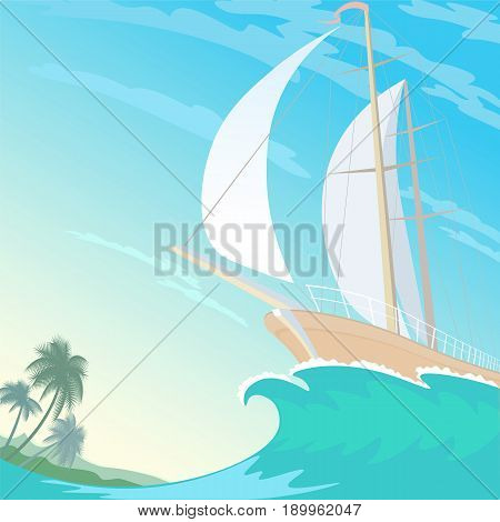 Boat white sail canvas up on wave crest. Blue sky sunny beach palms. Blue clear ocean water. Travel vacation vector illustration background