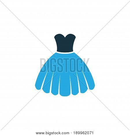 Dress Colorful Icon Symbol. Premium Quality Isolated Evening Gown Element In Trendy Style.